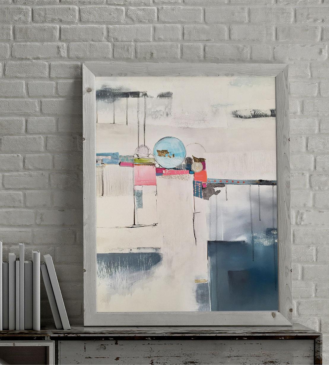 Don Carli Art abstrait Blou L'Astre 61x50cm-MockUp