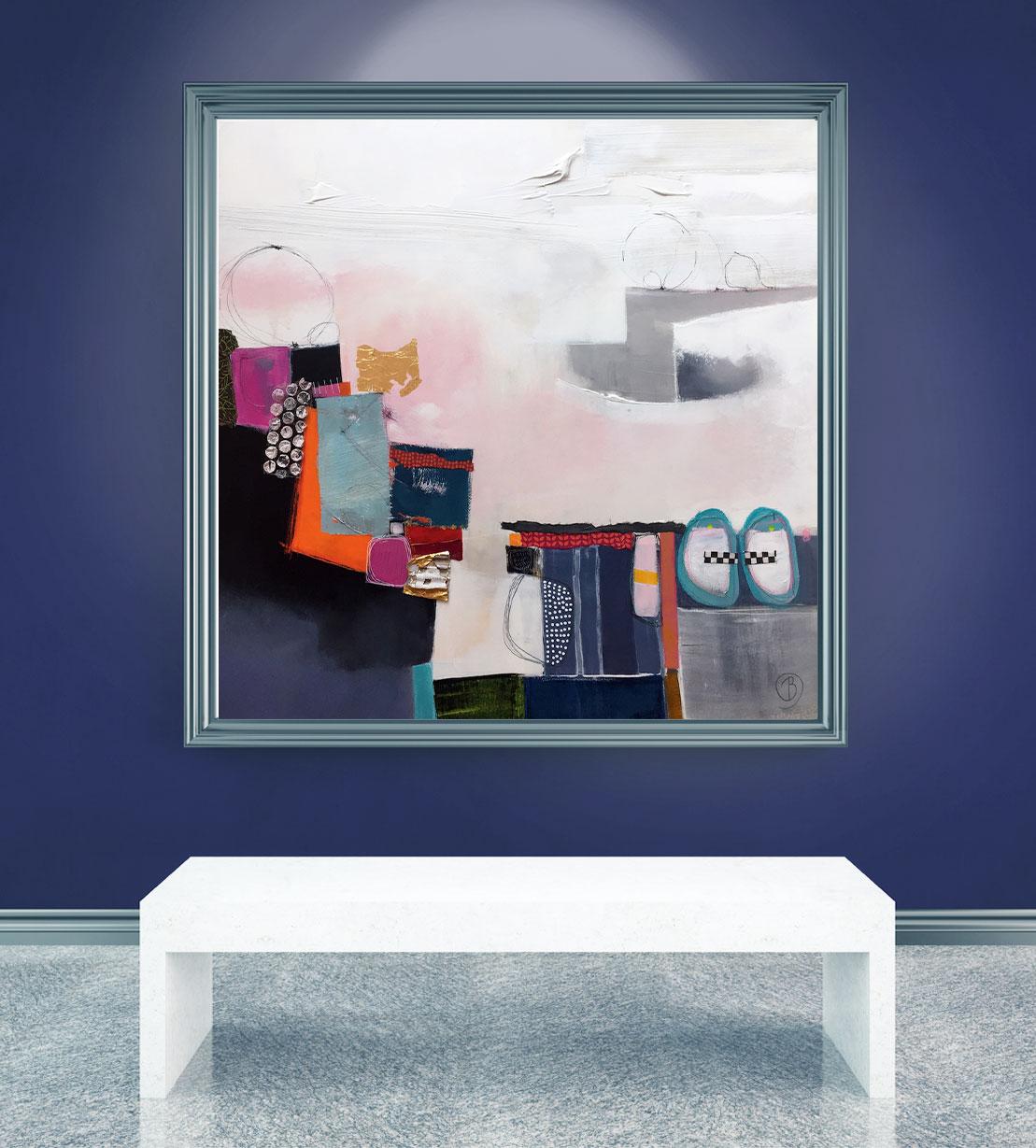 """Peinture abstraite Lau Blou """"Gravir les obstacles""""-50x50cm-MockUp Don Carli"""