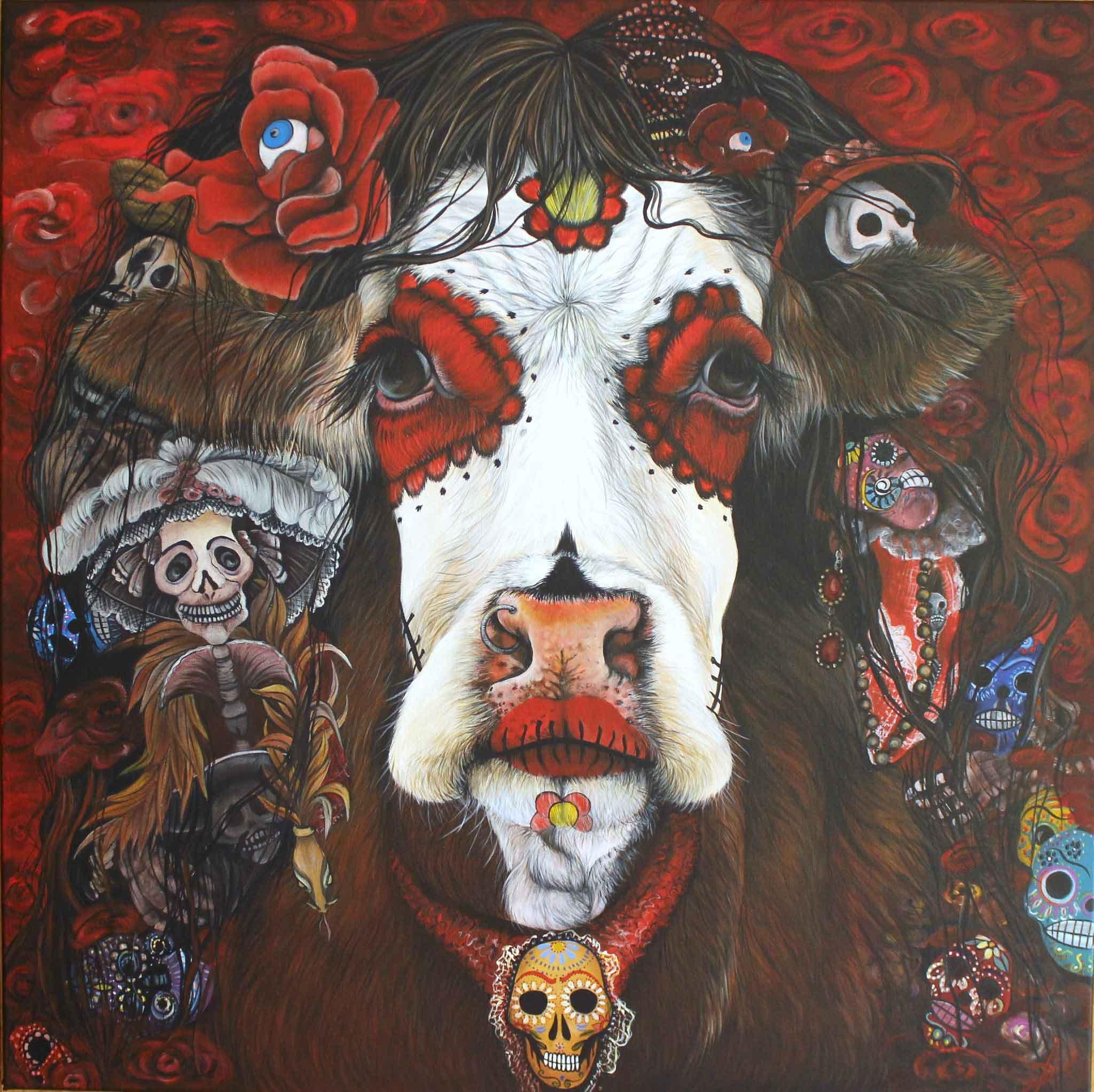 Isabelle Dubuis Vaca del Dia de Los Muertos 80x80cm Acrylique Lyon Don Carli