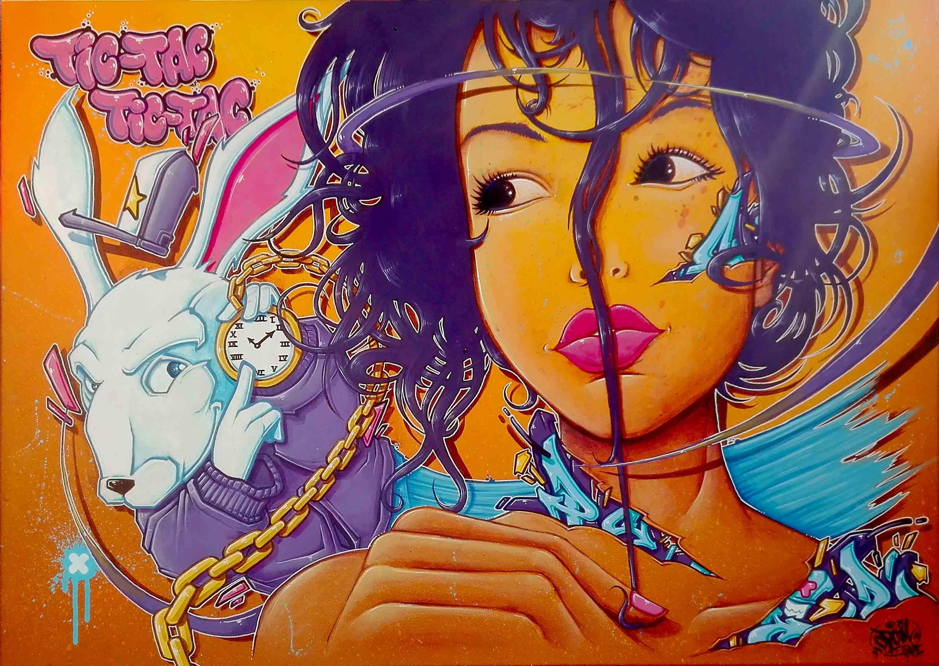 OPOIL Street art Tic tac tic tac Lyon