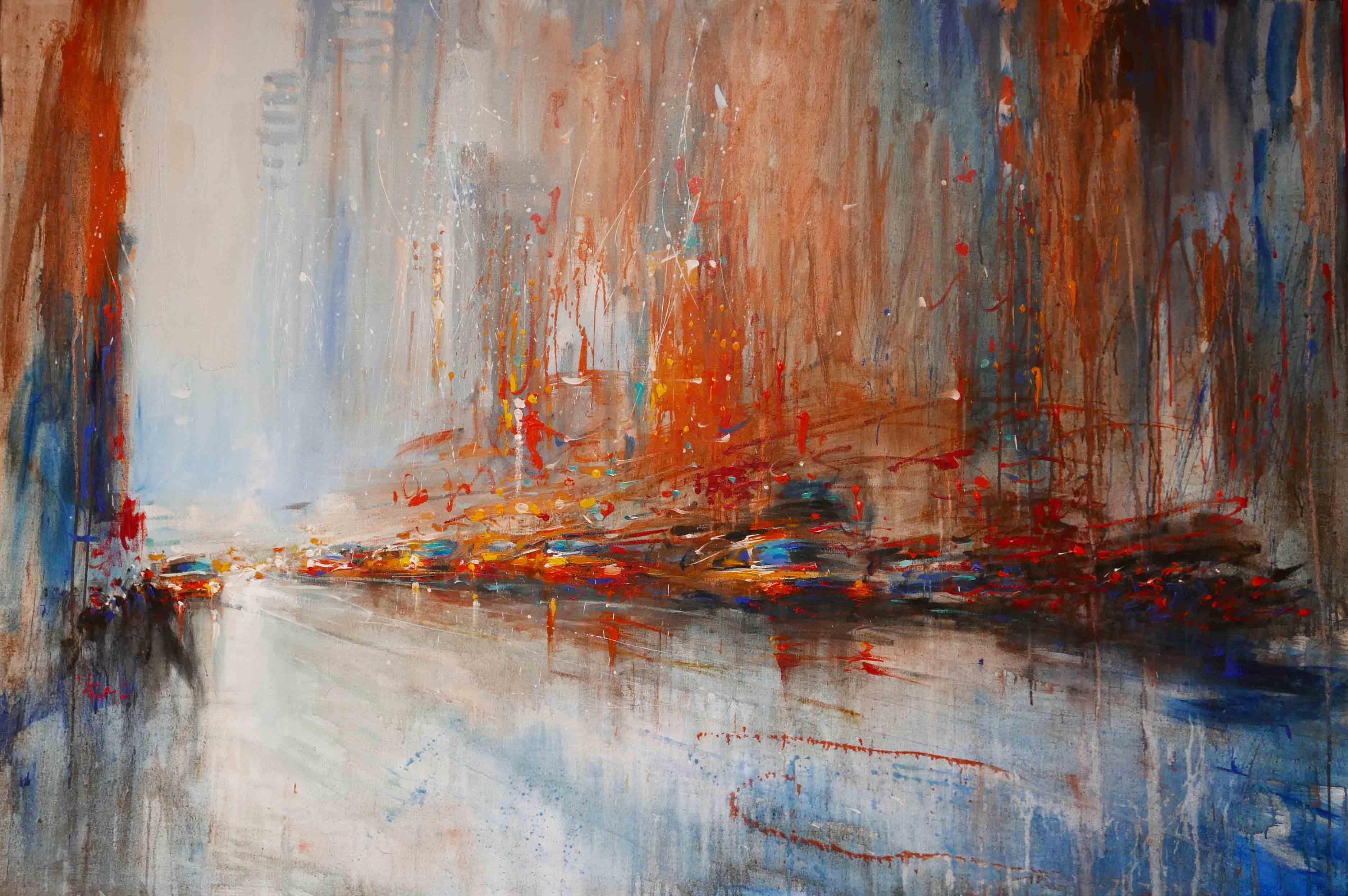 Van Tame Mist town acrylique sur toile