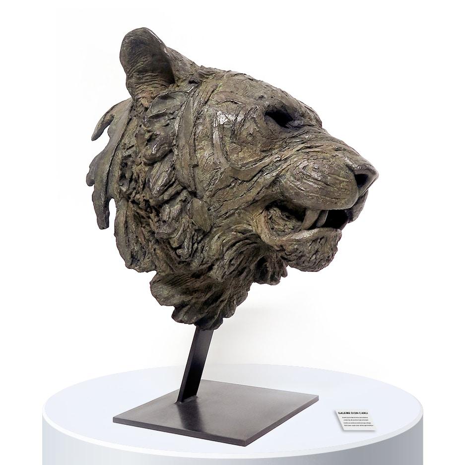 Bengal sculpture tête de tigre Chabert